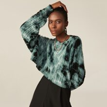 Drop Shoulder Tie Dye Cable Knit Sweater