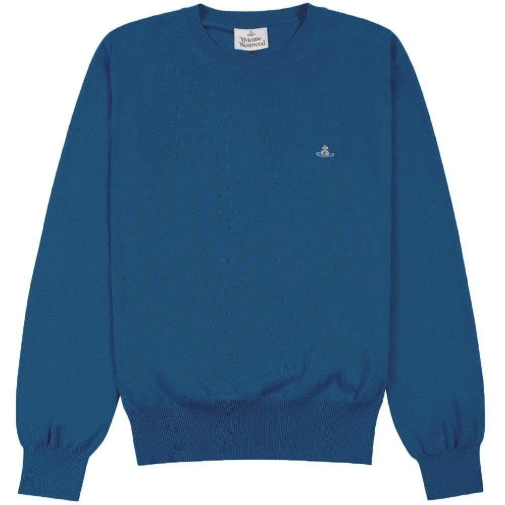 Vivienne Westwood Classic Orb Logo Sweater Colour: BLUE, Size: EXTRA LARGE