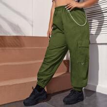 Plus Chain Detail Flap Pocket Cargo Pants
