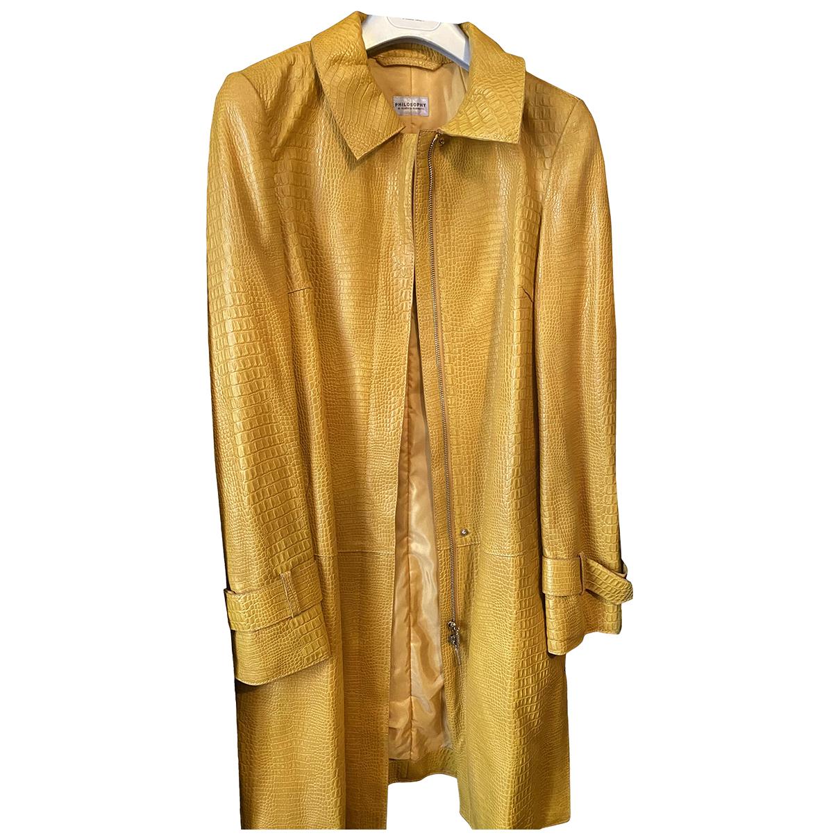 Alberta Ferretti - Manteau   pour femme en cuir - jaune