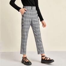 Hose mit seitlichem Reissverschluss, Knopfen und Plaid Muster