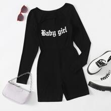 Cut Out Front Letter Graphic Romper