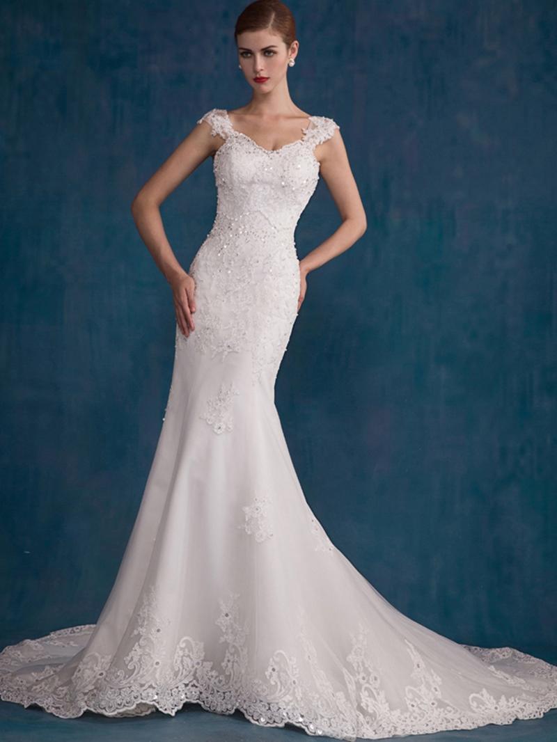 Ericdress Straps Chapel Train Mermaid Wedding Dress