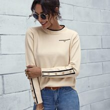 Contrast Binding Buttoned Cuff Sweater