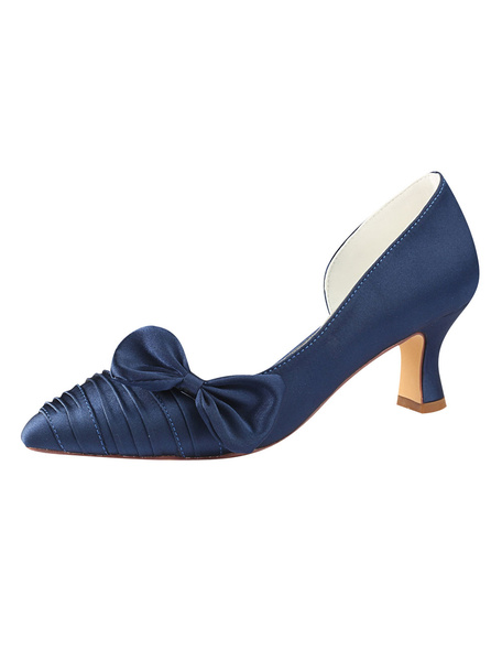 Milanoo Satin Wedding Shoes Dark Navy Pointed Toe Bow Kitten Heel Mother Shoes