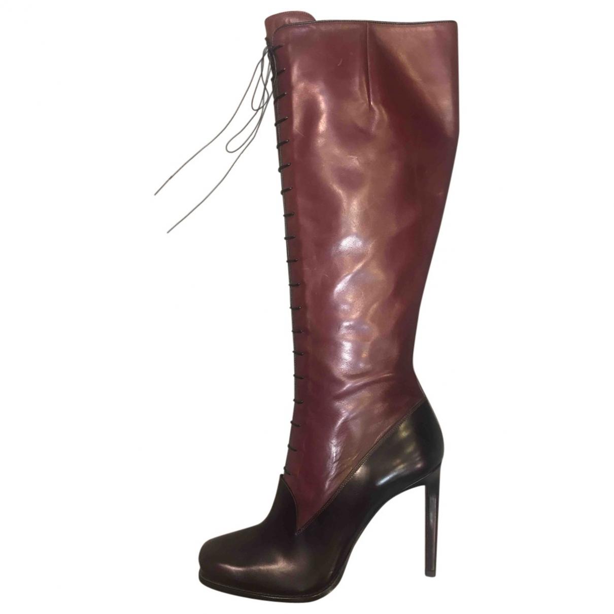 Santoni - Bottes   pour femme en cuir - bordeaux