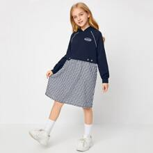 Girls Contrast Tipping Raglan Sleeve Buffalo Plaid Panel Hoodie Dress