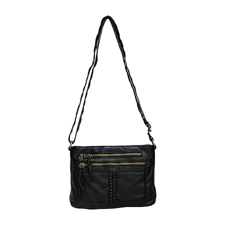 Bueno of California Washed Braided Crossbody Bag, One Size , Black