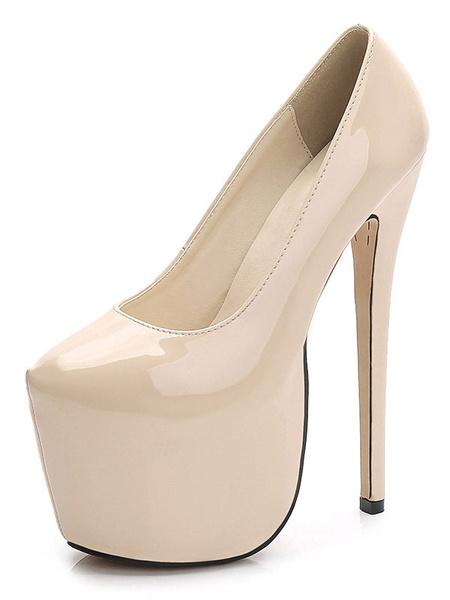 Milanoo Women Sexy Shoes Apricot Platform Round Toe Stiletto High Heels