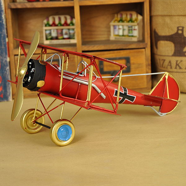 Classic Vintage Multi-Color Biplane fighter Model Desktop Decoration
