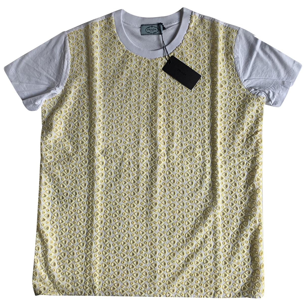 Prada - Top   pour femme en coton - jaune