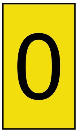HellermannTyton Ovalgrip Slide On Cable Marker, Pre-printed 0 Black on Yellow 1.7 ? 3.6mm Dia. Range