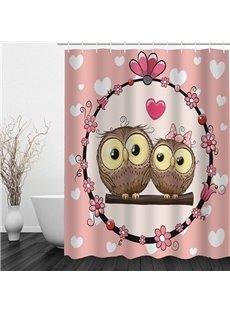 Couple Cartoon Owl Lovers 3D Printed Bathroom Waterproof Shower Curtain