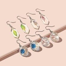 4 Paare Geometrische Ohrringe mit Blatt Design