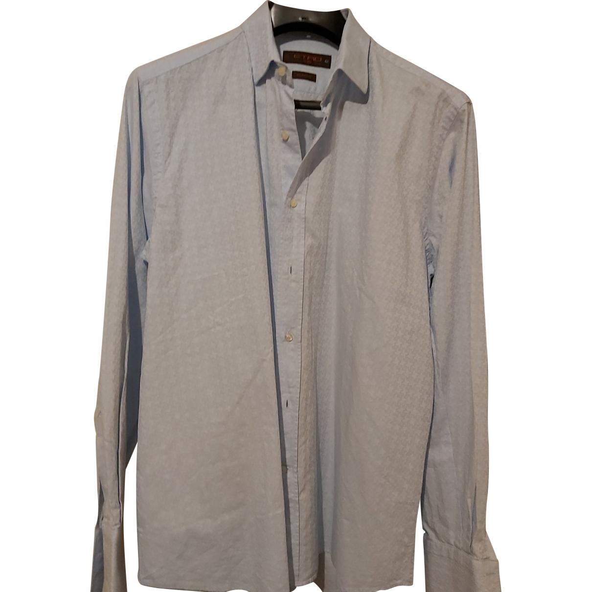 Etro \N Blue Cotton Shirts for Men 42 EU (tour de cou / collar)