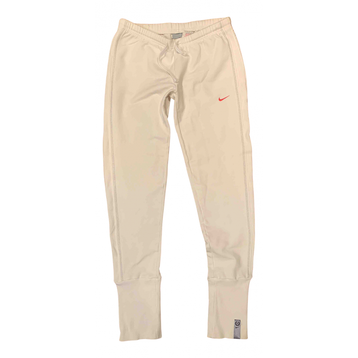 Nike N White Cotton Trousers for Women 44 IT