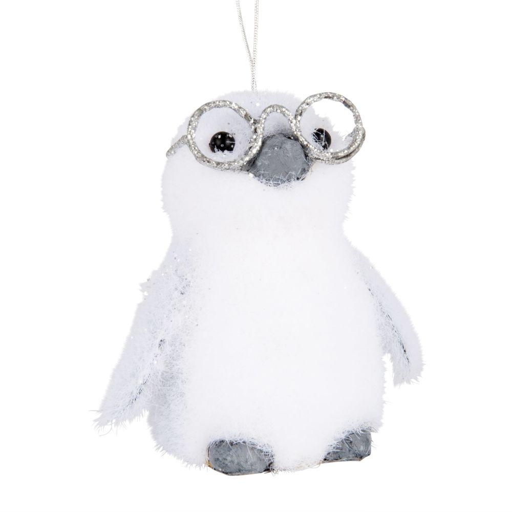 Weihnachtliche Haengedeko, Pinguin mit Brille, weiss und silberfarben
