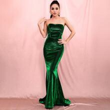 Samt Mermaid Prom Kleid mit Reissverschluss hinten