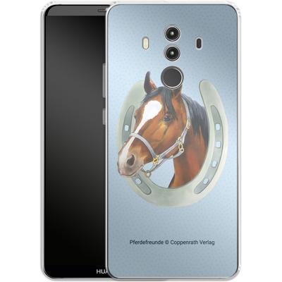Huawei Mate 10 Pro Silikon Handyhuelle - Pferdefreunde Hufeisen Blau von Pferdefreunde