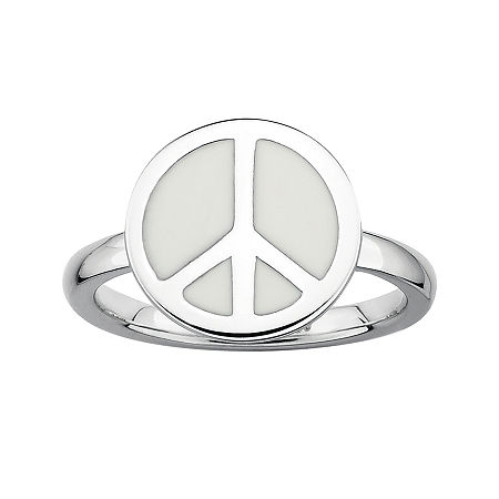 Personally Stackable Sterling Silver White Enamel Peace Ring, 7 , No Color Family