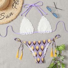Tribal Crochet Triangle Tie Side Bikini Swimsuit