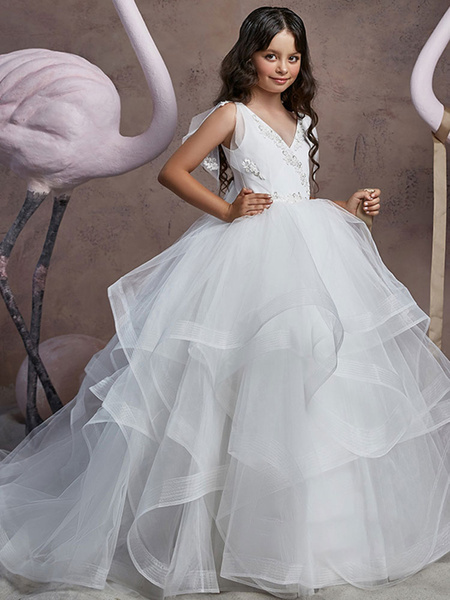 Milanoo Flower Girl Dresses V Neck Lace Sleeveless Floor Length Shoulder Bows Princess Silhouette Tiered Kids Social Party Dresses