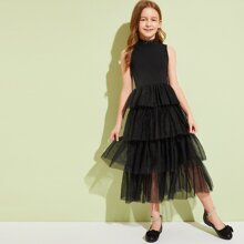 Girls Mock Neck Ruffle Layered Mesh  Dress