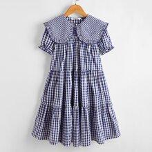 Girls Frill Trim Buffalo Plaid Layered Dress