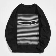 Pullover mit Streifen & Karikatur Muster