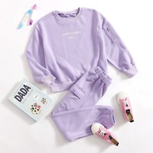 Girls Zipper Arm Pocket Slogan Graphic Pullover & Flap Pocket Joggers Set