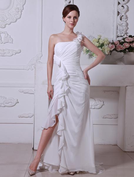 Milanoo Traje de boda de gasa y de saten elastico de linea A sin tirantes hasta el suelo