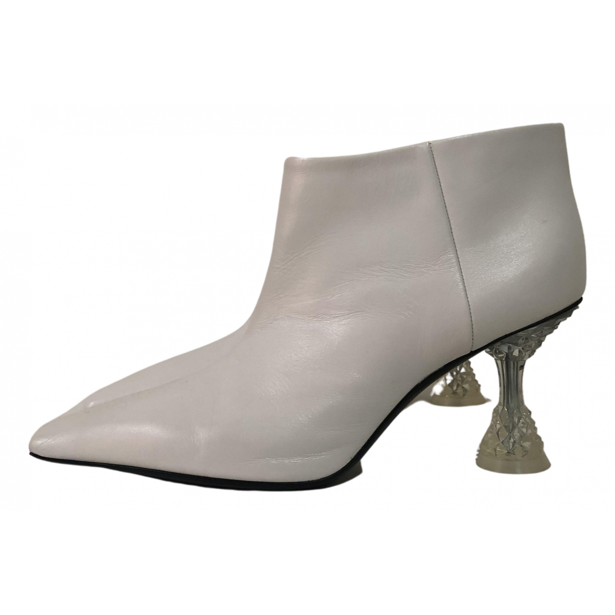 Celine N White Leather Ankle boots for Women 39.5 EU