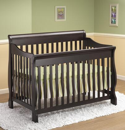 314E 54 4-in-1 Sleigh Crib with Hardwood Construction and Static Side Rail in Espresso
