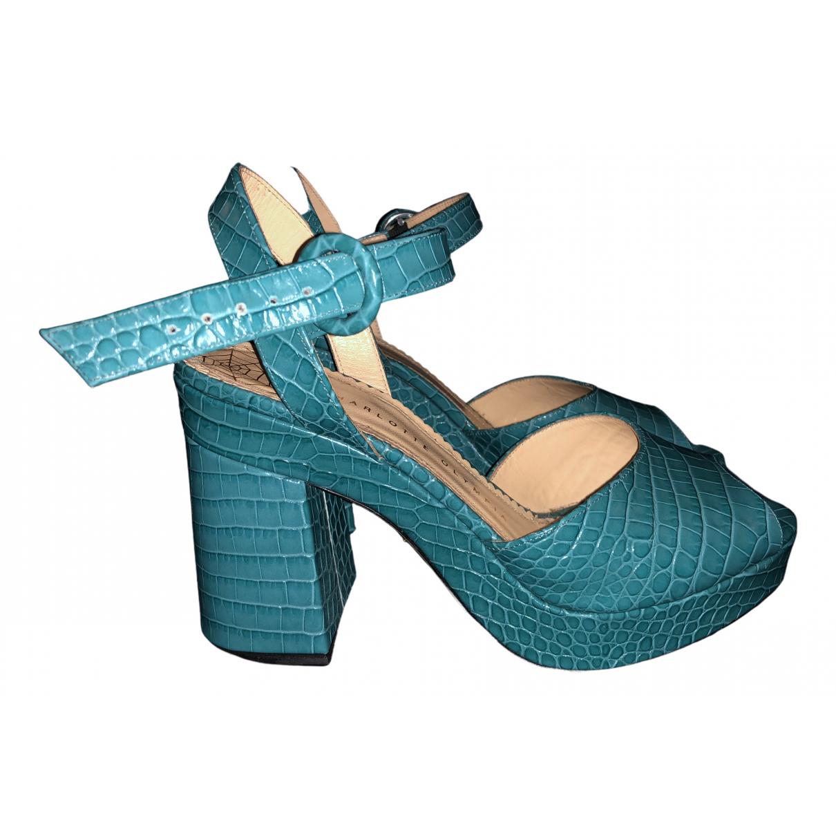 Charlotte Olympia - Escarpins   pour femme en cuir - bleu