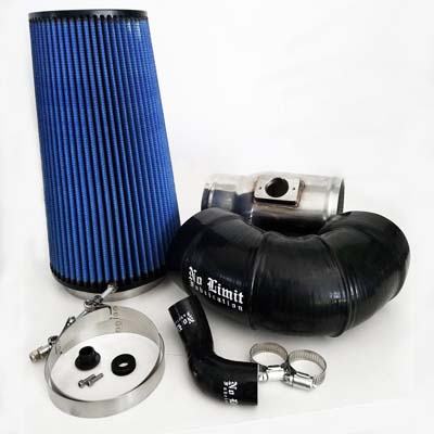 6.4 Cold Air Intake 08-10 Ford Super Duty Power Stroke Polished Oiled Filter for Mod Turbo 5 Inch Inlet No Limit Fabrication 64CAIO5