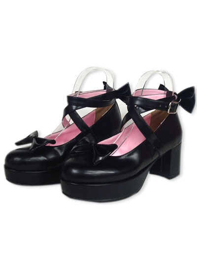 Milanoo Black Ravel Round Toe PU Leather High Heels Lolita Shoes