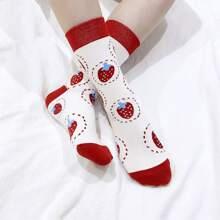 2pairs Strawberry Pattern Socks