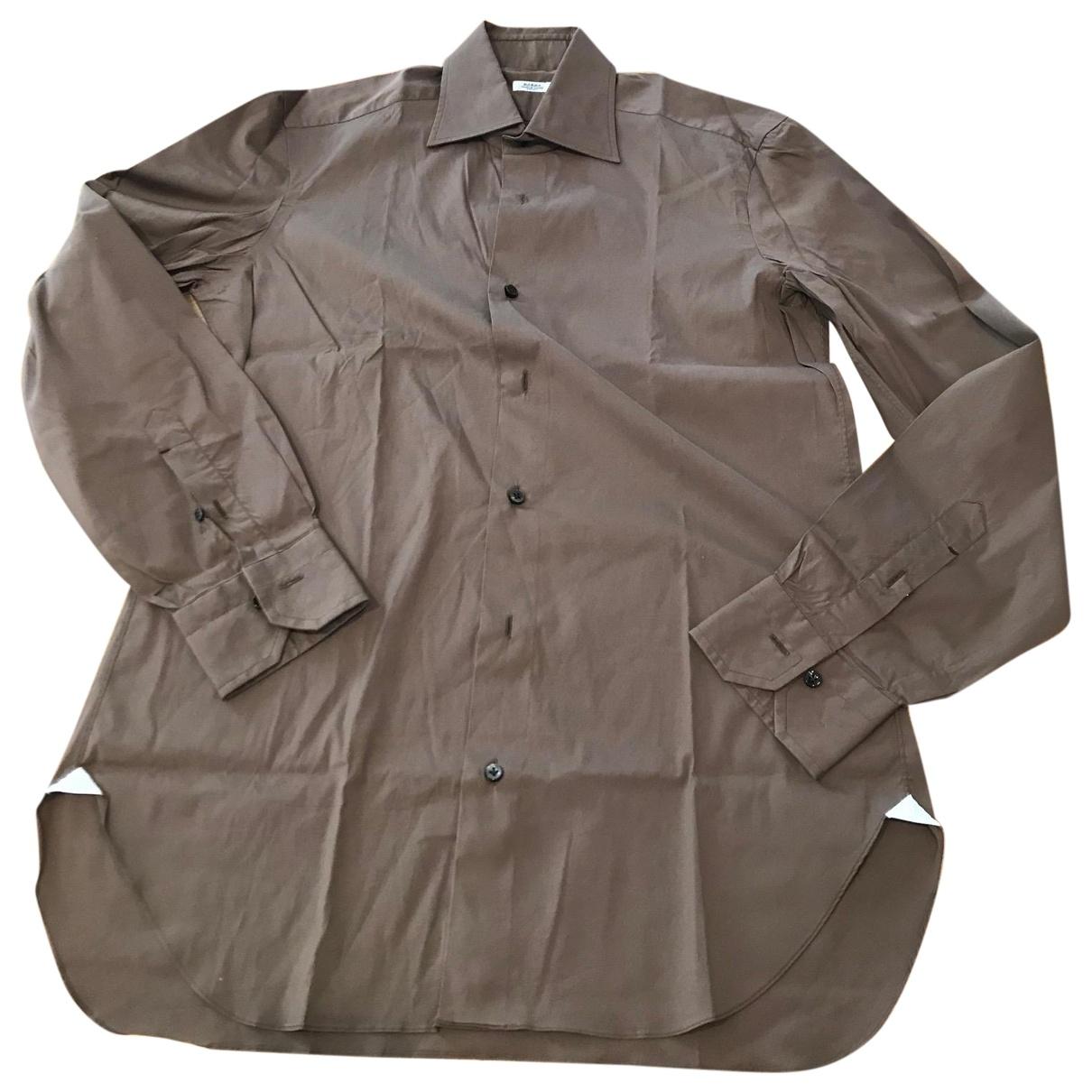 Barba - Chemises   pour homme en coton - marron