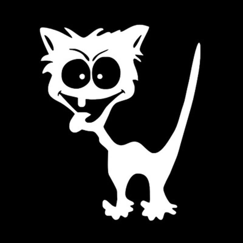 Cartoon Style Crazy Cat Reflective Car Sticker
