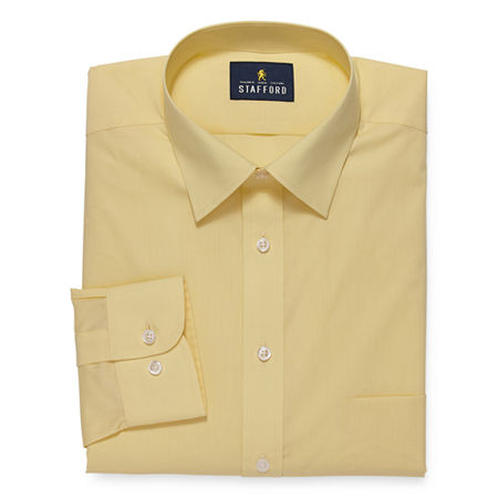 Stafford Mens Travel Easy-Care Broadcloth Stretch Fitted Dress Shirt, 14.5 32-33, Yellow