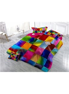 Colorful Plaid Wear-resistant Breathable High Quality 60s Cotton 4-Piece 3D Bedding Sets