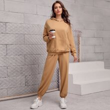 Pouch Pocket Solid Hoodie & Joggers Set