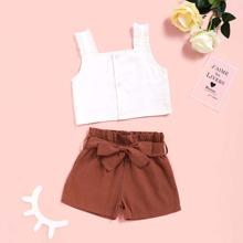 Baby Maedchen Top mit Rueschenbesatz & Shorts mit Papiertasche Taille und Guertel