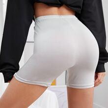 Elastic Waist Solid Biker Shorts