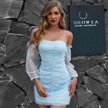 Yilibasha Off Shoulder Ruched Flocked Mesh Dress
