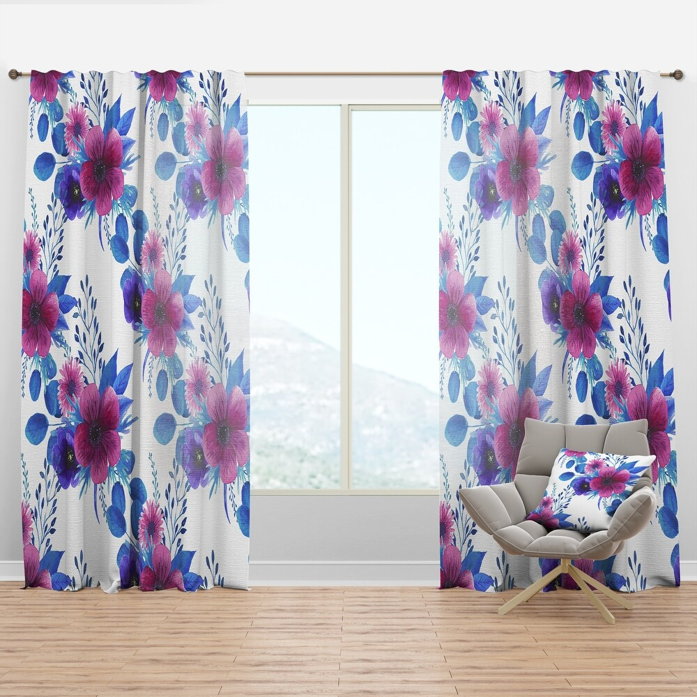 Designart 'Purple Pansie and Other Blossoming Flowers' Traditional Curtain Panel (50 in. wide x 95 in. high - 1 Panel)