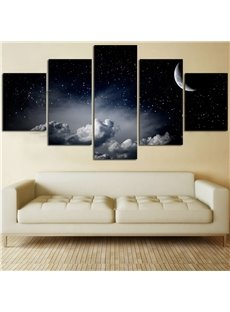 5 Pieces Night Sky Pattern Hanging Canvas Waterproof Eco-friendly Framed Wall Prints