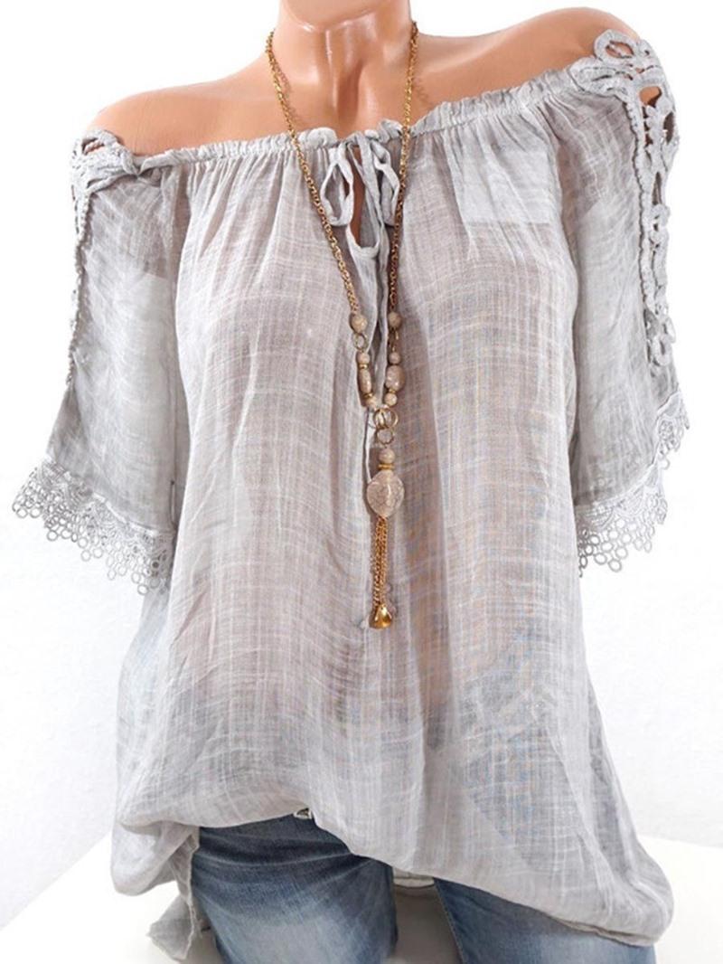 Women's Clothing Loose Plain Slash Neck