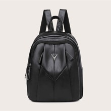 Metal Decor Curved Top Backpack