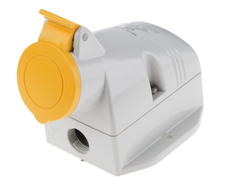 RS PRO IP44 Yellow Wall Mount 2P+E Industrial Power Socket, Rated At 16.0A, 110.0 V